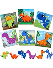 Aomola 6 Pack Dinosaur Wooden Puzzles for Toddlers,Toddler Puzzles Wooden Jigsaw Puzzle Animal Puzzles for Kids 1 2 3 Years Old,Educational Toys for Preschool Boys and Girls