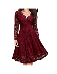 Vibola Women V-Neck Off Shoulder Lace Formal Evening Party Dress Long Sleeve Dress