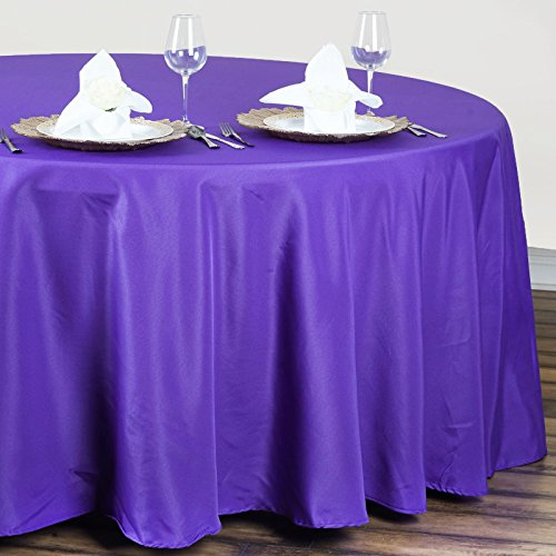 """BalsaCircle 120"""" Round Polyester Tablecloth Wedding Table Linens - Purple"""