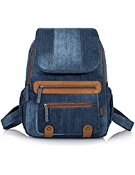 Leaper Vintage Denim School Backpack Laptop Bag Shoulder Daypack Handbag