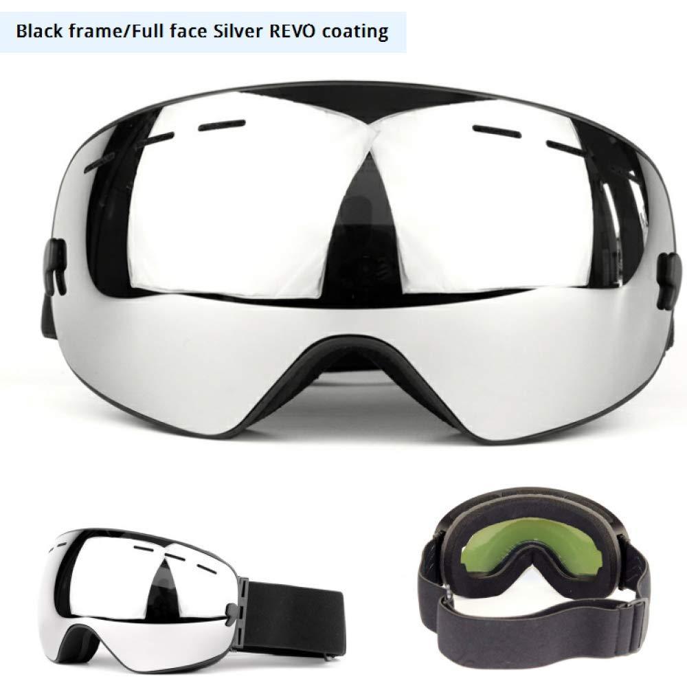 A BUGL Outdoor Riding Sports Goggles, Adult DoubleLayer AntiFog Men & Women Large Spherical Ski Glasses Equipment Single & Double Board MyopiaTPU Frame AntiDeformation