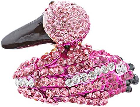 ACCESSORIESFOREVER Women Flamingo Crystal Pave Animal Stretch Adjustable Fashion Ring Gold Fuchsia Pink