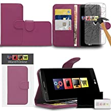 IWIO LG G4 H815 Purple PU Leather Executive Multi-Function Wallet Case Cover Organiser Flip with Credit / Business Card Money Holder Integrated Horizontal Viewing Stand Includes Tempered Glass Protective LCD Screen Protector