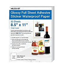"""Milcoast Glossy Full Sheet 8.5"""" x 11"""" Adhesive Waterproof Photo Craft Paper – Works with Inkjet / Laser Printers – For Stickers, Labels, Scrapbooks, Bottle Labels, Arts and Crafts (50 Sheets)"""
