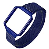 Fitbit Blaze Band with Metal Frame,ESEEKGO Milanese Loop Bands Replacement Stainless Steel Bracelet Strap for Fitbit Blaze Large ( No Tracker, Blue )