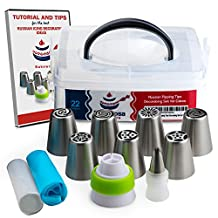BRANDIOSA 22-Piece DELUXE Russian Piping Tips Kit- Icing Decoration Set Of 7 Cake Decorating Tips + Leaf Tip w/ Coupler + 1 Tri-Coupler+ 11 Pastry Bags+ Plastic Storage Box+ E-book To Bake Like A Pro!