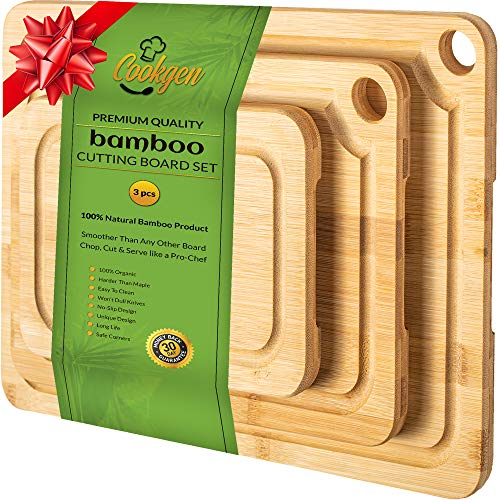 Cookgen Bamboo Cutting Board With Juice Groove (3-Pcs Set), Large Handles, Pre-Oiled Wooden Cutting Board, Reversible chopping board