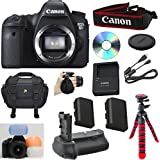 "Canon EOS 6D 20.2 MP CMOS Digital SLR Camera with 3.0-Inch LCD (Body Only) Celltime Bundle with High Power Battery grip + Extra High Capacity Replacement Battery + 12"" Flexible Tripod + 8pc Accessory Bundle Kit"