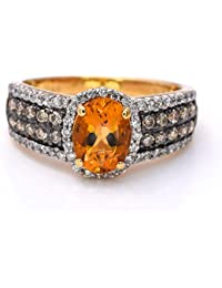 LeVian Ring Citrine Chocolate and Vanilla Diamonds 1.67 cttw 14K Yellow gold New with tag