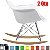 2xhome Set of 2 White Mid Century Modern Designer Molded Shell Designer Plastic Rocking Chair Chairs Armchair Arm Chair Patio Lounge Garden Nursery Living Room Rocker Replica Decor Furniture Bedroom