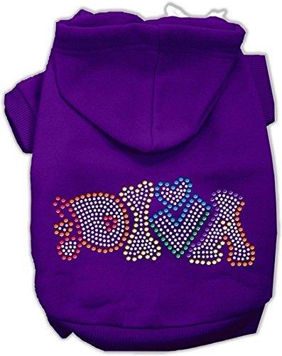 Purple Medium Purple Medium Mirage Pet Products 12  Technicolor Diva Rhinestone Pet Hoodie, Medium, Purple