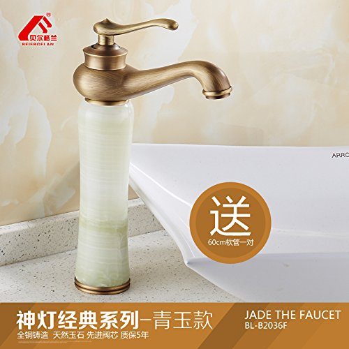 2 LHbox Antique jade plus high European faucet sink hot and cold natural green jade basin full copper Washbasin Faucet, God is the classic antique series Wong Yuk-Aspect