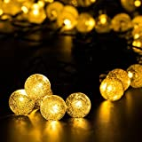 {Longer 29ft 50LED} Hallomall™ Outdoor Solar String Lights Fairy Lights, Crystal Ball Solar Powered Outdoor Decorations Ambiance Lighting For for Garden Fence Path Landscape Christmas (warm white)