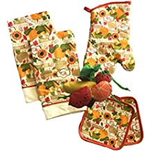 Kitchen Linen Set (Includes: one oven mitt, two pot holders and two dish towels) (Fall Harvest)