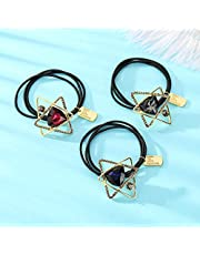 [3 Pack] Benefree Black Elastic Hair Bands 3 colour crystal Hair Ties for Women and Girls, Braids, Ponytails and Fine Hair