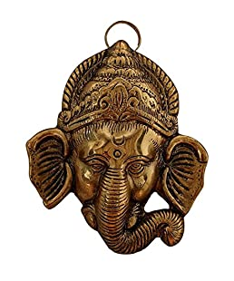 Rci Handicrafts Metal Gold Plated Trunk Ganesh Head Main Door Hangings for Home Decor and Gift Purpose(Gold)