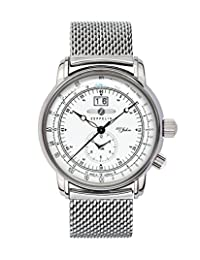 Graf Zeppelin German Made, Big Date, Dual Time Watch with Mesh Bracelet 7640M-4