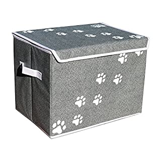 """Feline Ruff Large Dog Toys Storage Box 16"""" x 12"""" Pet Toy Storage Basket with Lid. Perfect Collapsible Canvas Bin for Cat Toys and Accessories Too! (Gray)"""