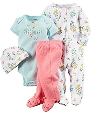 Carters Baby Girls 4 Piece Layette Set (Baby) - Flowers-6M