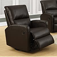 Monarch I 8084Br Swivel Glider Recliner, Dark Brown