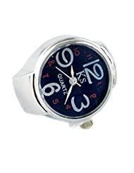 MapofBeauty Arabic Numbers Quartz Alloy Finger Ring Watch (Blue)
