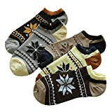 5 Pairs OF Breathable Absorbent Socks Male Cotton Socks Gift Octagonal Patterns