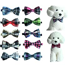 Yagopet 10pcs/Pack Pet Dog Bow tie Neckties Double Layers Hot Business Grid Design Cat Dog Bowtie neckties Adjustable Pet Pet Collars Dog Grooming Products Dog Accessories Cute Gift