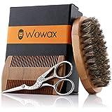 WOWAX Beard Grooming & Trimming Kit for Men - Boar Bristle Beard Brush, Wooden Mustache & Beard Comb and Beard Scissors for Men, Beard Grooming Care Kit Gift Sets for Men