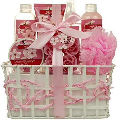 Bath and Body Works -Spa Gift Baskets for Women & Girls, Cherry Fragrance, Spa Kit Birthday Gift Includes Loofah Sponge, Bath Salt, Body Lotion, Soap Roses, Body Mist, Shower Gel And Bubble Bath