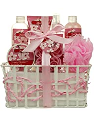 Spa Gift Basket and Bath Set – Bath and Body Gift Set, Gift Box, Contains Loofah Bath Sponge, Bath Salts, Sensual Body Lotion, Rose Petals, Body Mist, Cherry Shower Gel And Bubble Bath