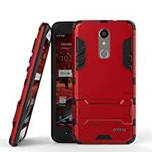 ZTE Grand X4 Heavy Duty Case DWaybox 2 in 1 Hybrid Armor Hard Back Case Cover with kickstand for ZTE Grand X 4 / ZTE Grand X4 Z956 5.5 Inch (Marsala Red)