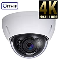 8 Megapixel 4K IP Network Vandal Dome Security Camera - 4mm Fixed Lens - 65 IR 4K Progressive Scan CMOS - ONVIF Protocol