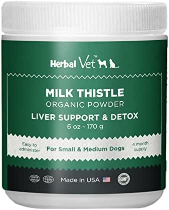 Certified Organic Milk Thistle Powder for Cats and Dogs - Easy to Mix with Wet or Dry Food- Promotes Healthy Liver Function and Detox for Pets (6 OZ for Small and Medium Dogs)