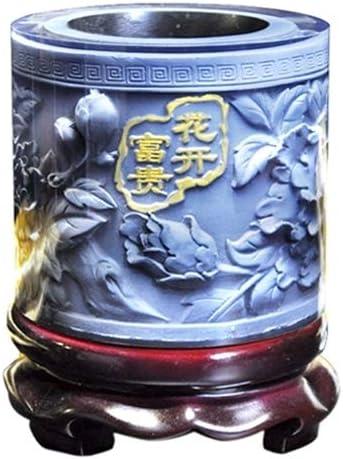 LYL 最高級クリスタル樹脂Corporeal牡丹縞模様の装飾品ドラム形状回転ペンホルダー