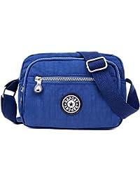 Women Waterproof Nylon Messenger Bags Cross Body Shoulder Bag Tote Multi Pocket Purse