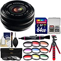 Fujifilm 18mm f/2.0 XF R Lens with 3 UV/CPL/ND8 & 9 Color Filters + 64GB Card + Tripod + Kit