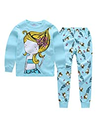"""CNBABY """"Blue Mermaid"""" Little and Toddler Girl Clothes 2 Piece Cotton Cute Pajama"""