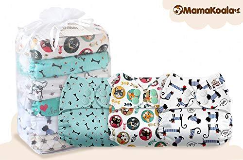 Mama Koala One Size Baby Washable Reusable Pocket Cloth Diapers, 6 Pack with 6 One Size Microfiber Inserts (Bone Thugs N Harmeowny)