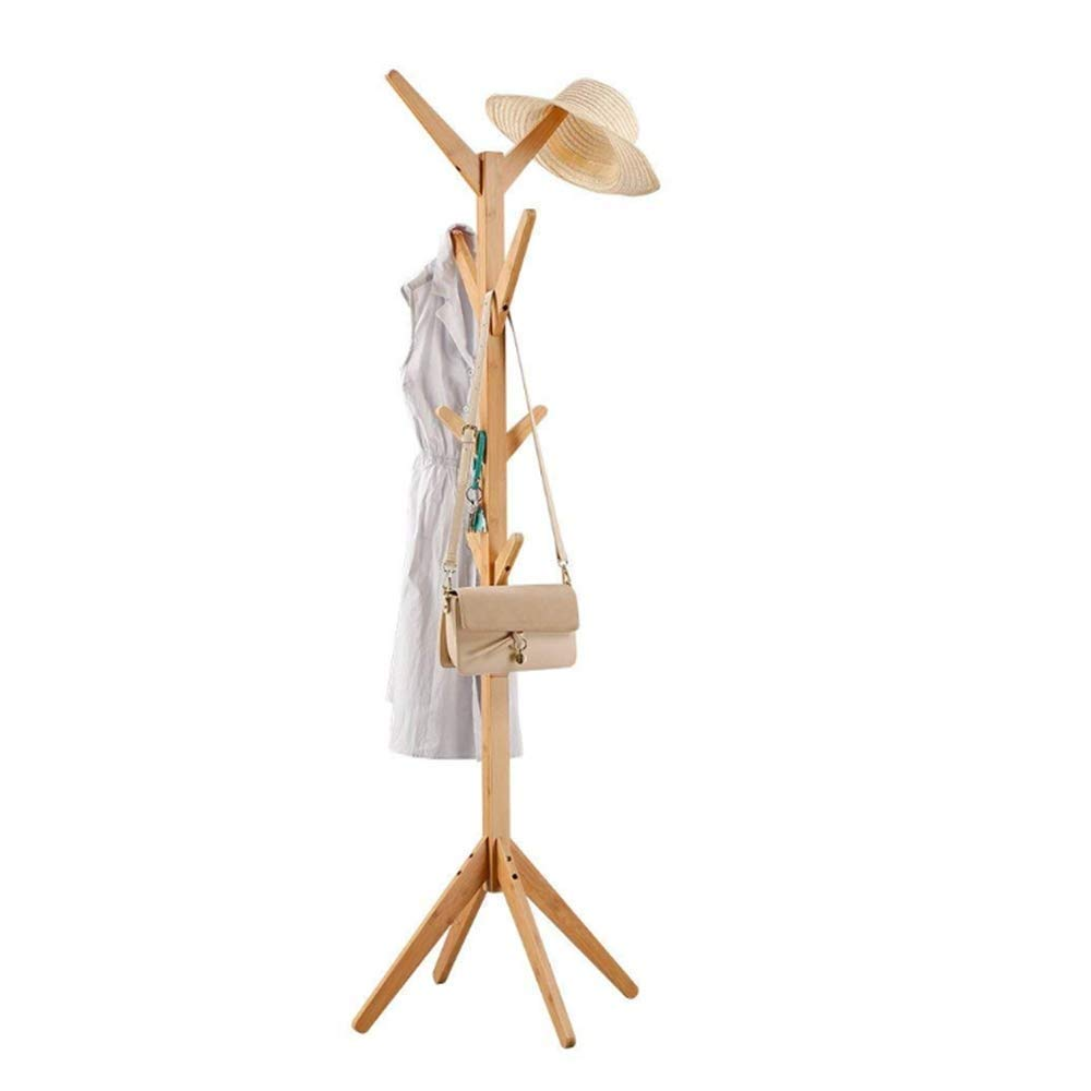 A Coat Stand Rack Wood Jacket Clothes Hat Bag Umbrella Hanging Organiser with 8 Hooks for Hallway Bedroom 178cm Natural Wall Hanger Haiming (color   A)