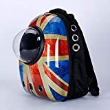 Pet Carrier Cats Backpack Astronaut Capsule Bubble Window Hard Shell with Vents Suitable for Small Pets,England