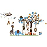 Jungle forest animal playing on the tree Removable cartoon wall sticker wall decal wall sticker wallpaper for kids children room