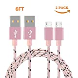 Micro USB Cable, Nylon Braided Android Charger Cord fast charging Sync Cable for Samsung ,Galaxy Tablet,HTC, LG, Nokia,Motorola ,Android Smart phones and More. (Camo)(Pink 2Pack 6FT)