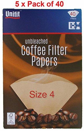 Papeles de filtro de cafe 200unidades), color marron tamano cuatro (4o 1x 4) apto para moler cafe filtro maquinas y conos.