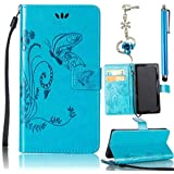 Samsung Galaxy S4 Case, Bonice 3 in 1 Accessory PU Leather Flip Practical Book Style Magnetic Snap Wallet Case with [Card Slots] [Hand Strip] Premium Multi-Function Design Cover + Stylus Pen + Diamond Blue Flower Antidust Plug, Blue