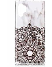 Miagon Marble Case for Samsung Galaxy Note 10 Plus,Slim Thin Glossy Soft TPU Rubber Gel Cute Women Girls Man Phone Case Cover,Mandala Flower