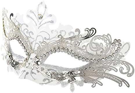 Coxeer Laser Cut Metal Lady Masquerade Halloween Mardi Gras Party Mask (White & Silver)