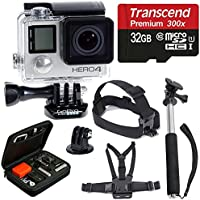 Gopro Hero4 Black Edition Camera HD Waterproof to 131 Camcorder with Deluxe Carrying Case + Head Strap + Chest Strap + Monopod + 32GB Sdhc Microsd Memory Card Complete Deluxe Accessory Bundle