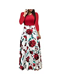 OCEAN-STORE Dresses for Women Work Casual Floral Boho Print Long Maxi Dress