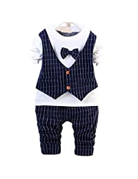 DIIMUU Baby Boy Clothes Party Wedding Outfits Suits Shirt + Pants Clothing Sets