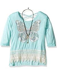 Big Girls Long Sleeve Butterfly Screen Top Crochet Hem